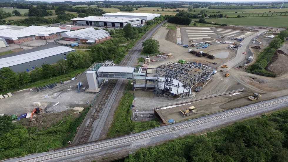 Birds eye view of Worcestershire Parkway station Summer 2018