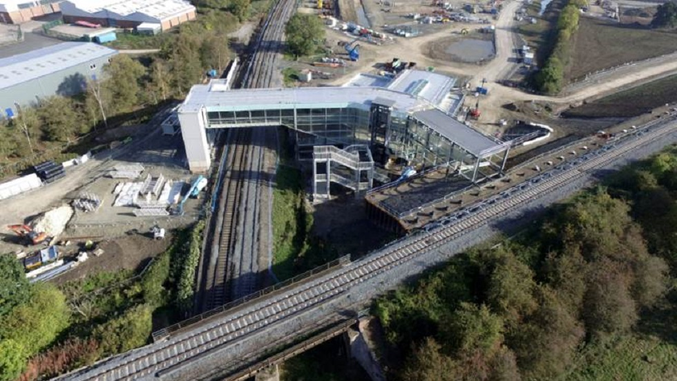 Birds eye view of Worcestershire Parkway station October 2018