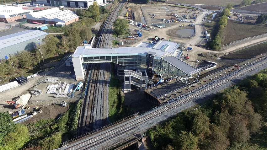 Birds eye view of Worcestershire Parkway station showing both tracks