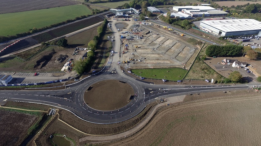 Worcestershire Parkway October 2018 Aerial view including roundabout