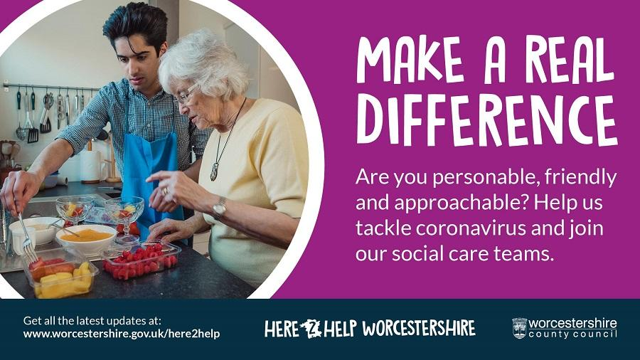 Make a real difference graphic; Are you personable, friendly and approachable? Help us tackle coronavirus.