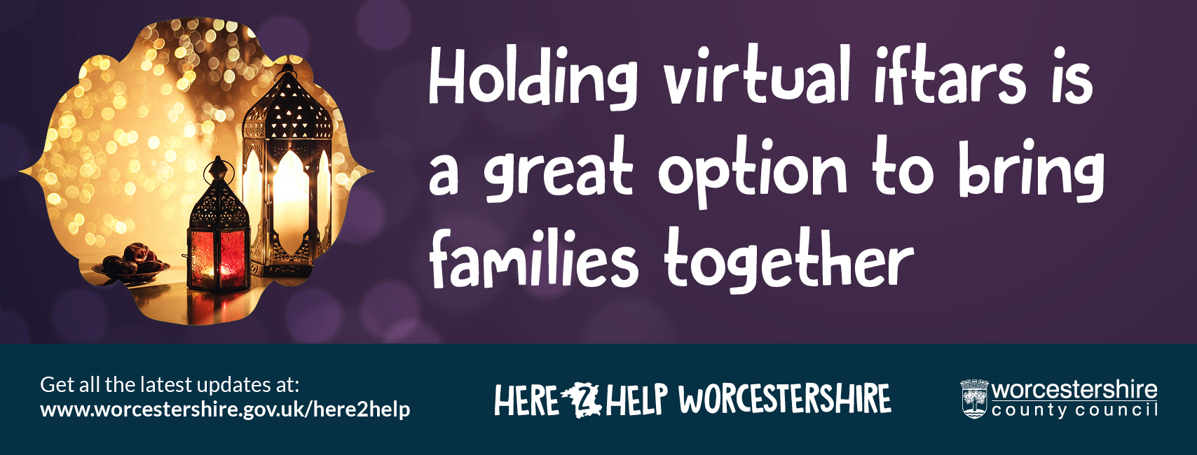 The graphic reads: Holding virtual Iftars is a great way to bring families together.