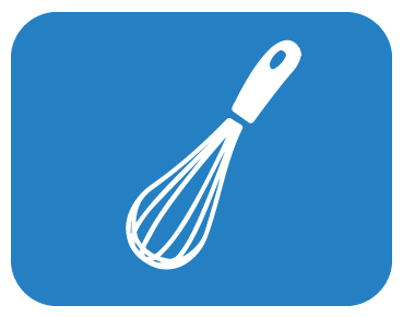 Christmas recipes button an image of a whisk