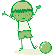 A cartoon image of  a boy with a football