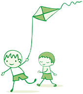 A cartoon image of two boys running with a kite