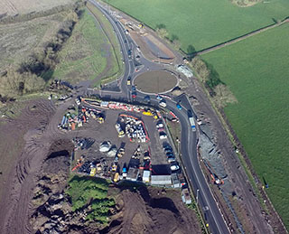 Aerial view of worcester six works progress