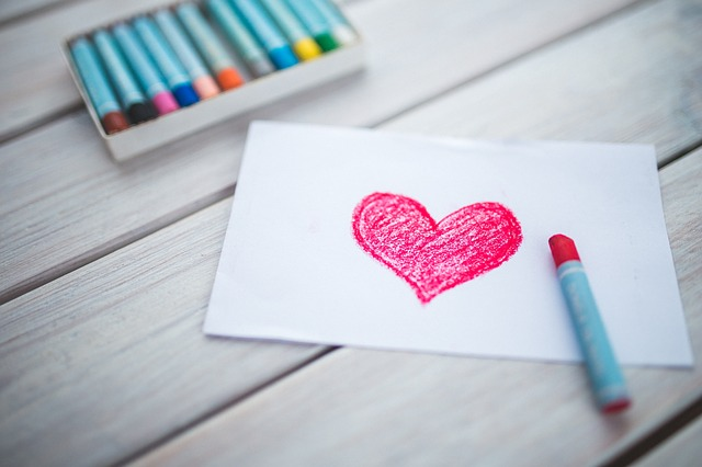 An image of a crayon drawing of a heart