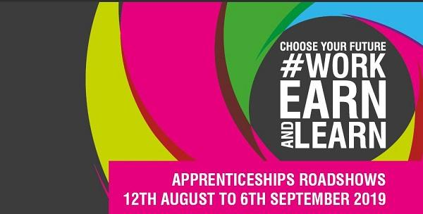 Logo for the #WorkEarnandLearn Roadshow organised by Worcestershire Apprenticeships