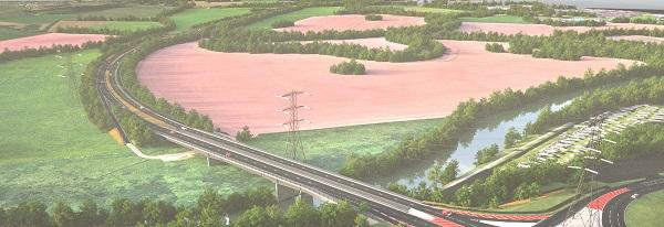 Artist impression of the Southern Link Road, between Ketch and Powick roundabout.