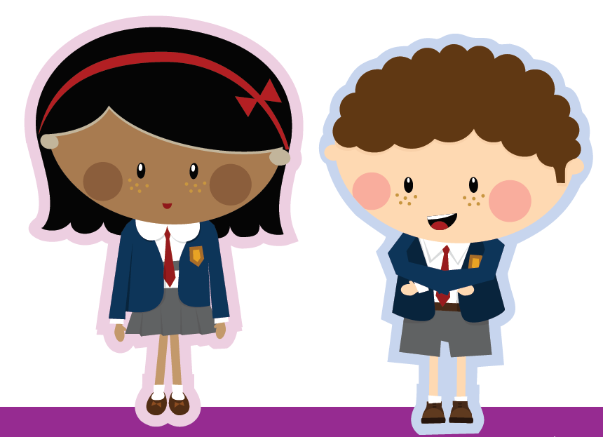 Cartoon Characters - A boy and a girl who feature as part of our Ready For School campaign.
