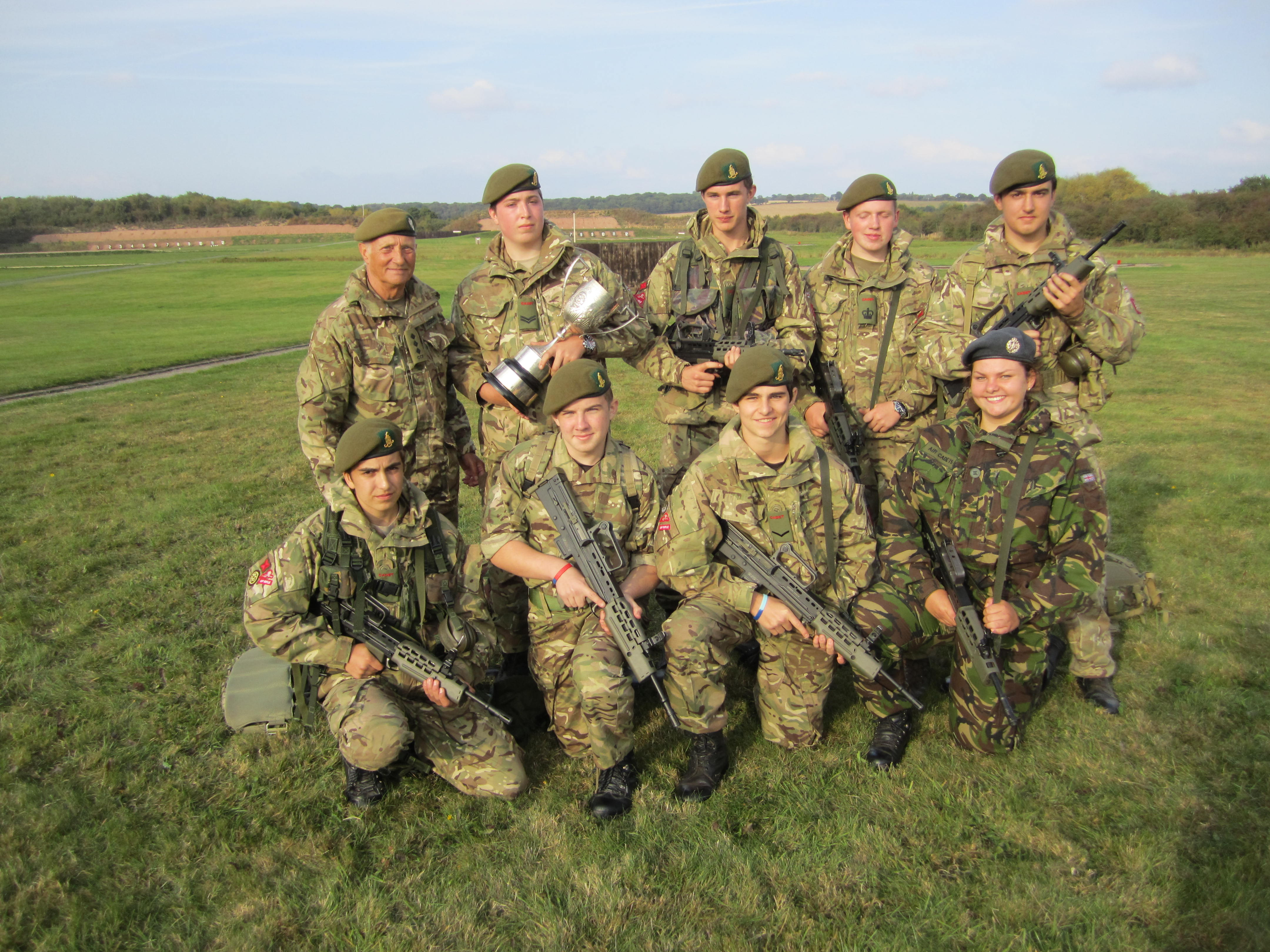 Members of the Bromsgrove School Combined Cadet Force shooting team
