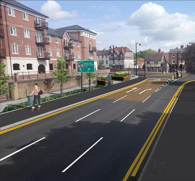 An artists impression of the works taking place on Commandery Road, Worcester.