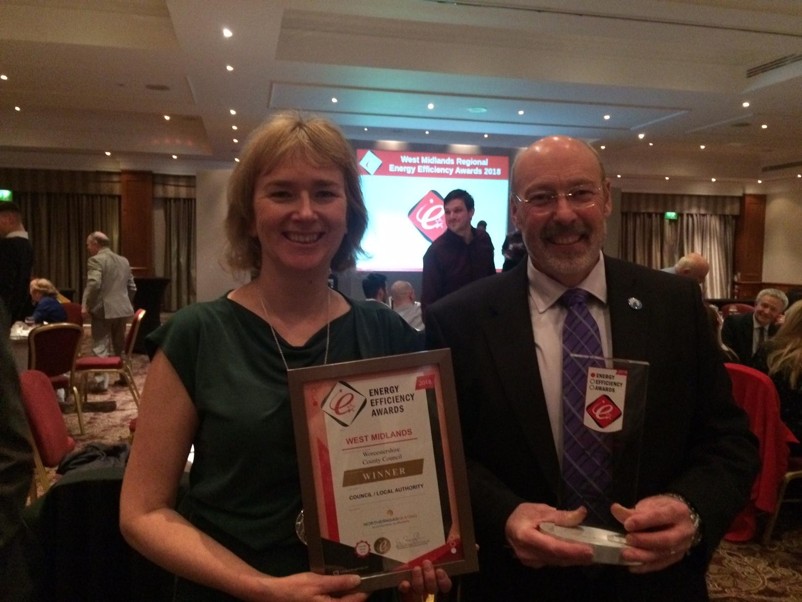 Councillor Tony Miller & Liz Alston, Principal Sustainability Manager at the Energy Efficiency Awards
