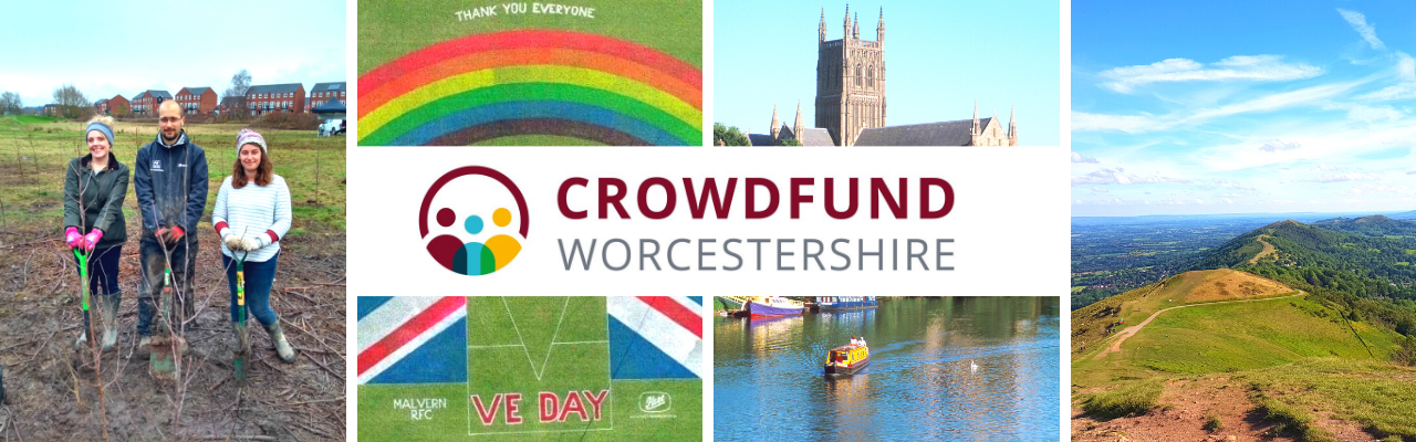 Crowdfund Worcestershire logo; including images of Worcester Cathedral and the Malvern Hills.
