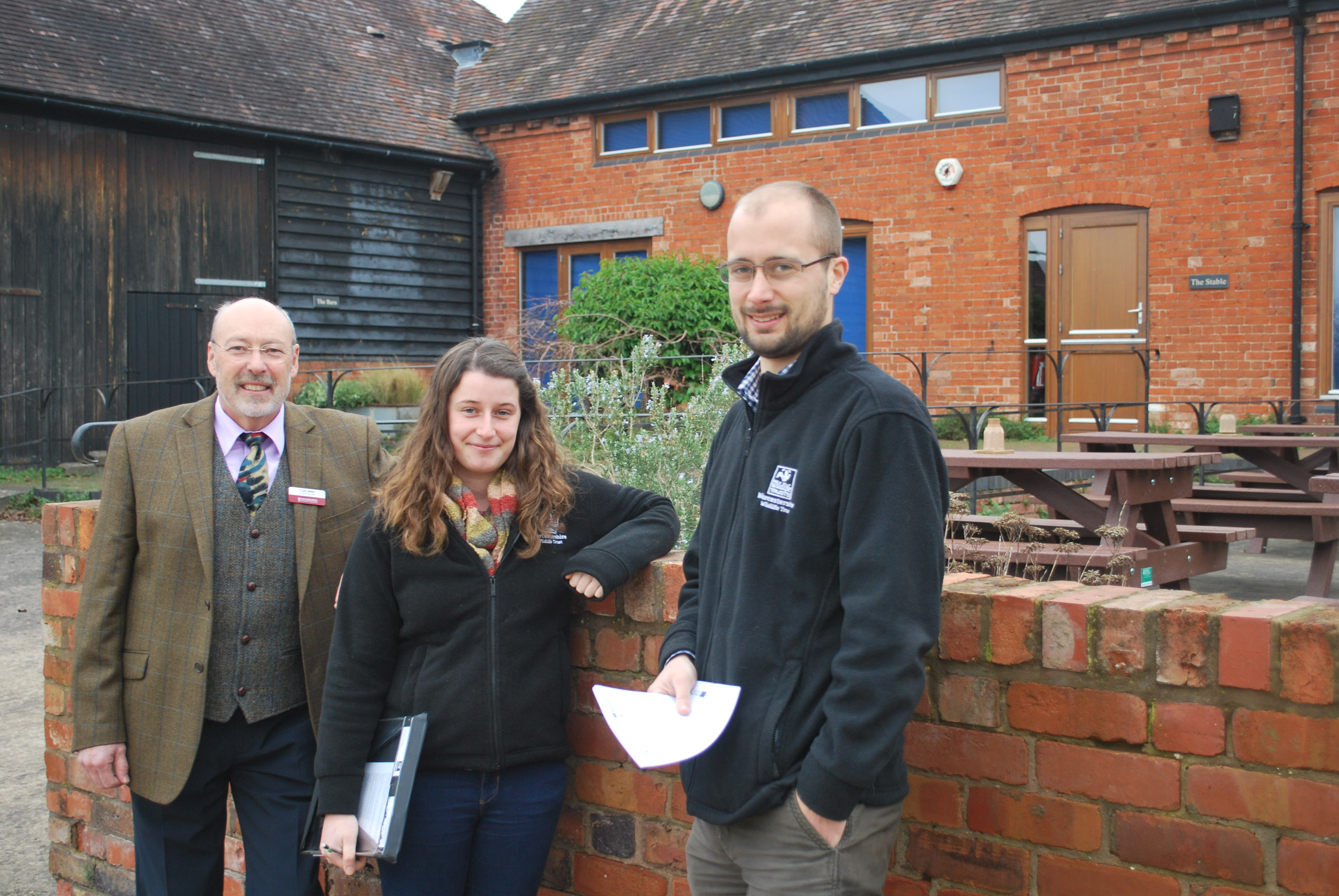 L-R) County Councillor Tony Miller  with Jasmine Walters and Sean Webber both Natural Networks Officers from Worcestershire Wildlife Trust undertaking surveys and delivering management advice and assistance with grant applications for the project.