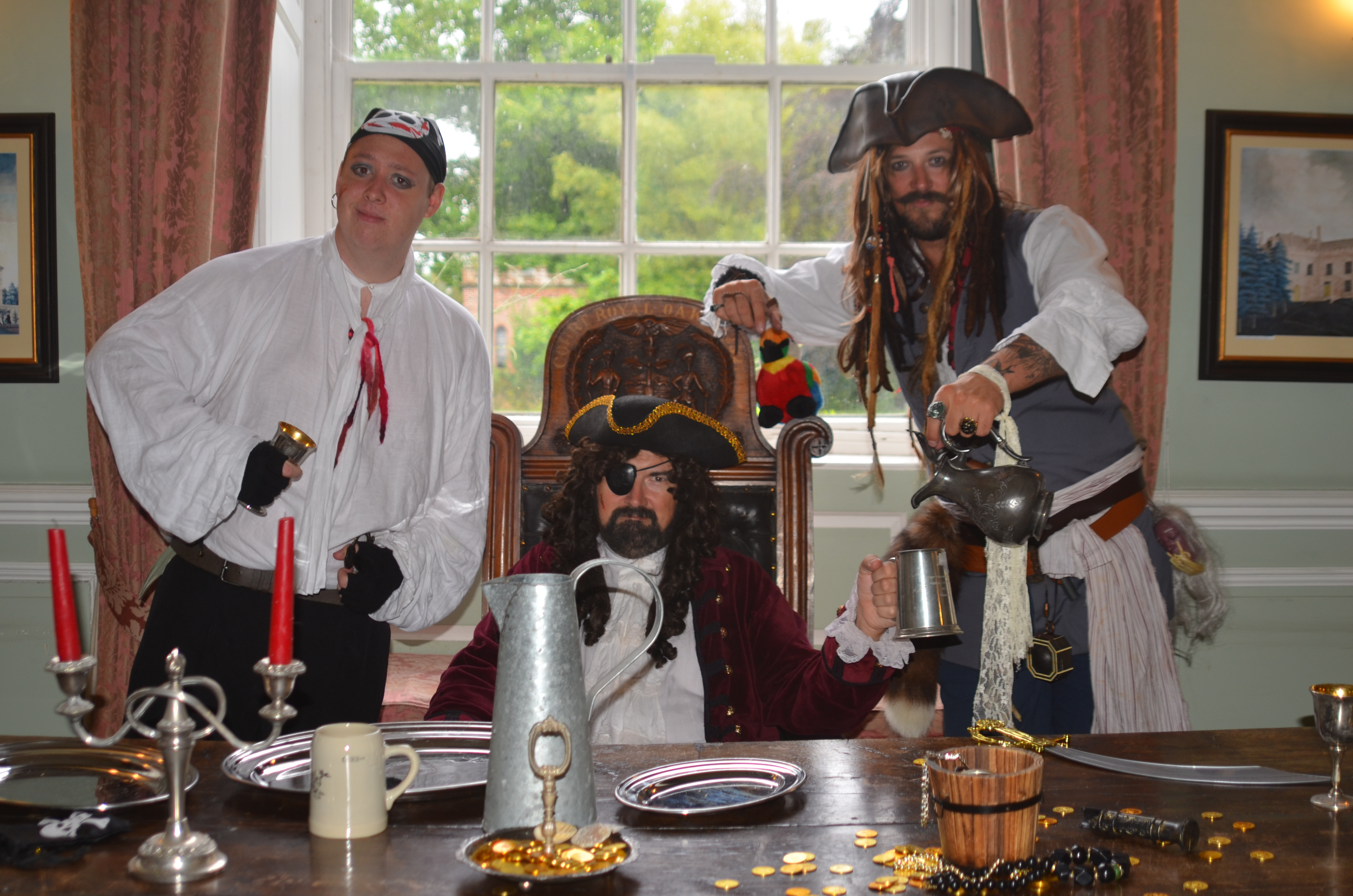 Billy Barnacle, Captain Sharkbreath & School Inspector Jack Sparrow at the Captain's table.