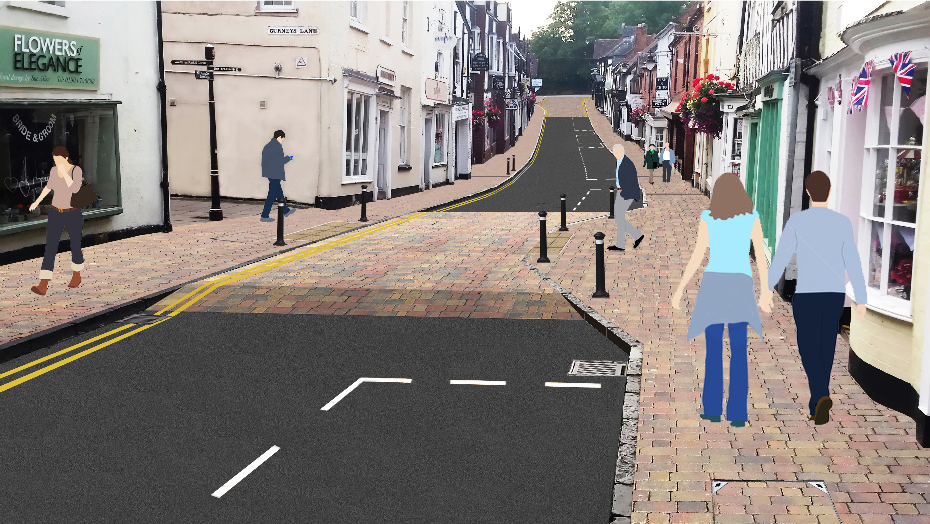 Artist's impression of how the High Street could look following the High Street refurbishment.