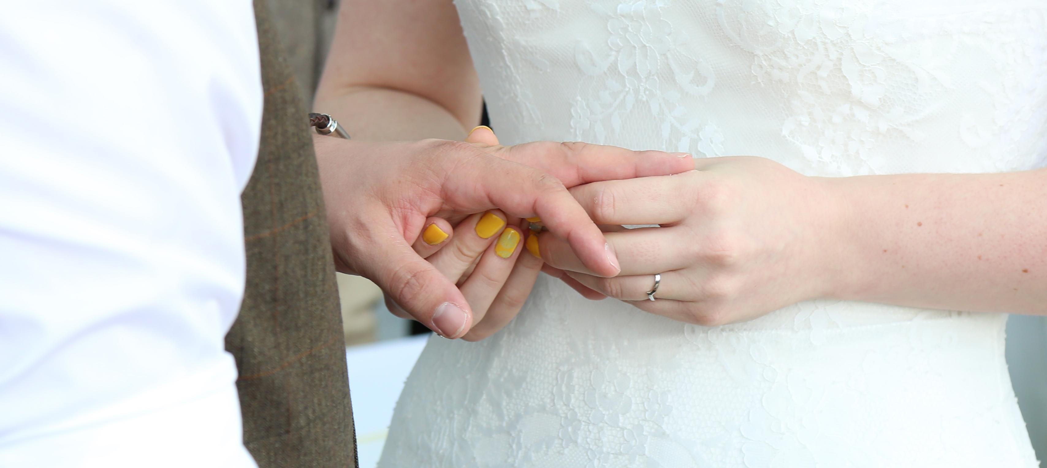 A couple exchanging wedding rings