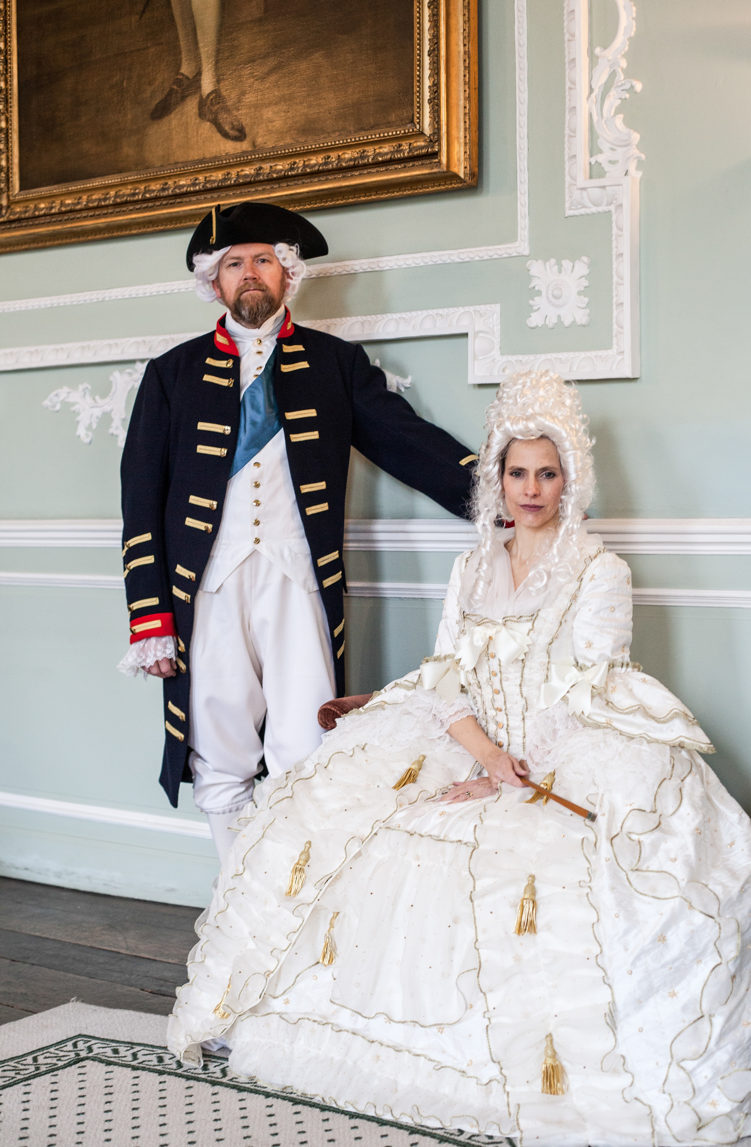 Jonathan Darby and Claire Worboys as King George and Queen Charlotte in the Castle's Georgian Saloon