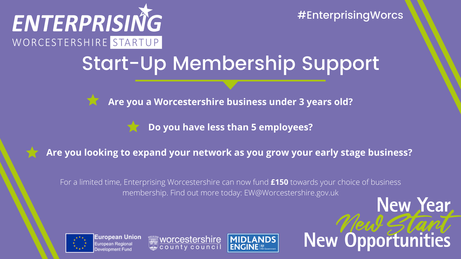 Poster advertising start-up membership support.