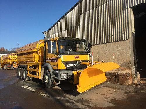 A gritting lorry parked outside Malvern Depot