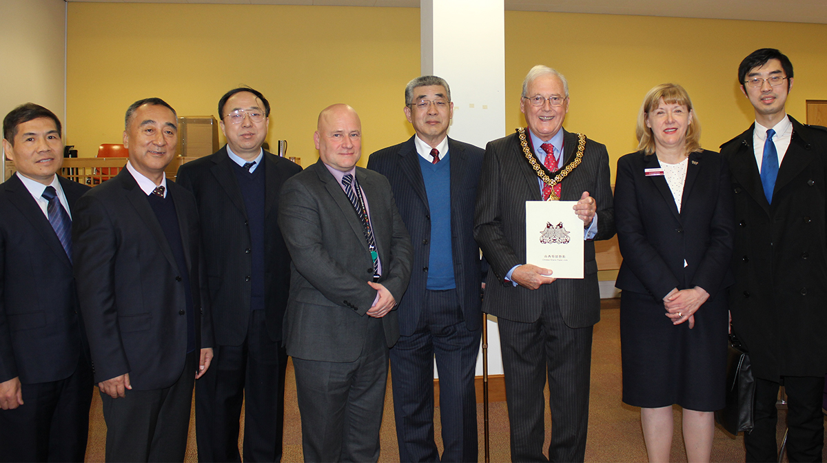 Chinese delegation with Paul Robinson, Peter Tomlinson and Elaine Carolan