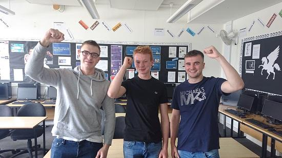 Three students, Sam, Dan and Joe receive their A-Level results at Haybridge High School.