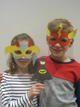 Matilda and Louis Hines getting set for superhero fun.