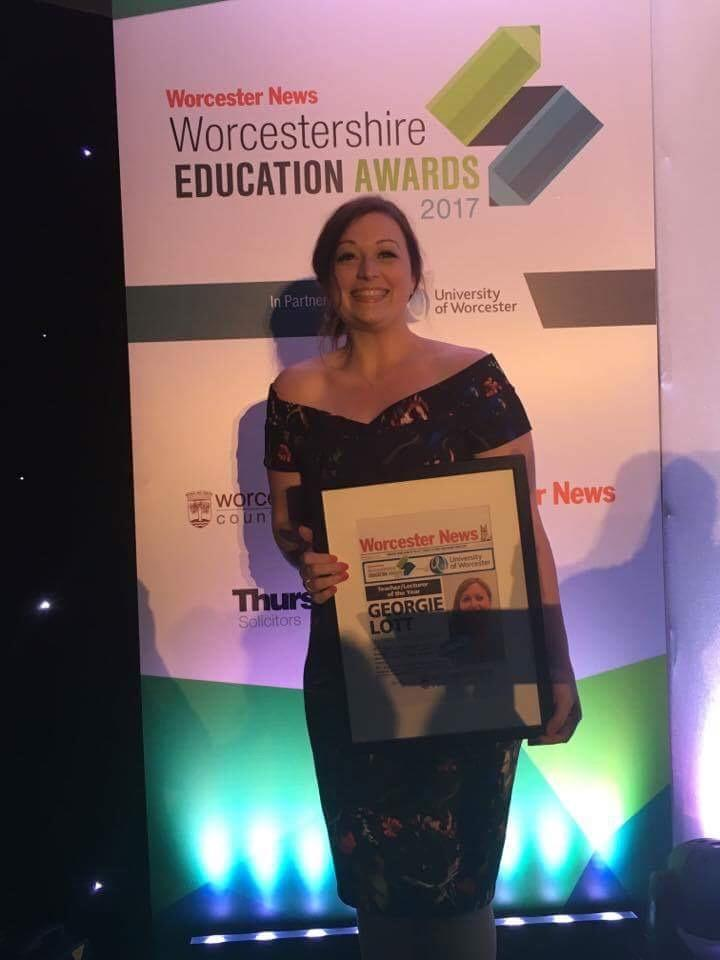 Winner of Teacher of the year 2017, Georgie Lott, at the Worcestershire Education Awards