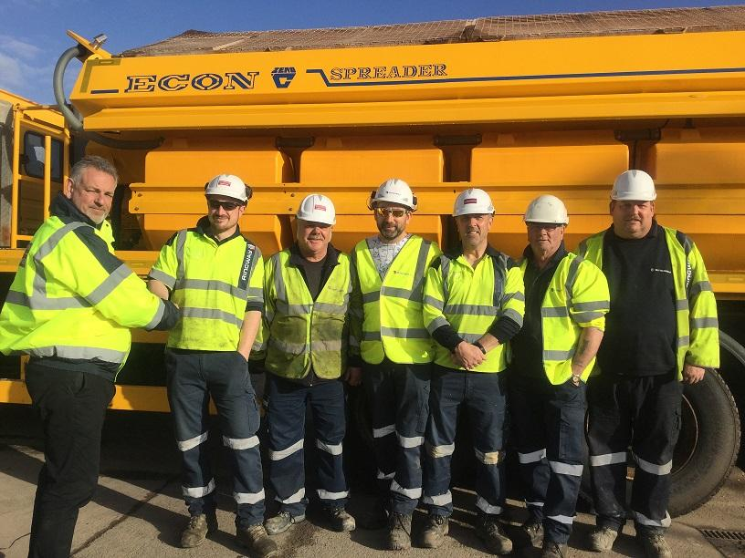 (L-R)  Jon Fraser, Worcestershire County Council Highways, with gritting team Richard Fitzer, Andy James, Paul Fox, Andrew Badham, Melvin Peters, Charlie Lee.