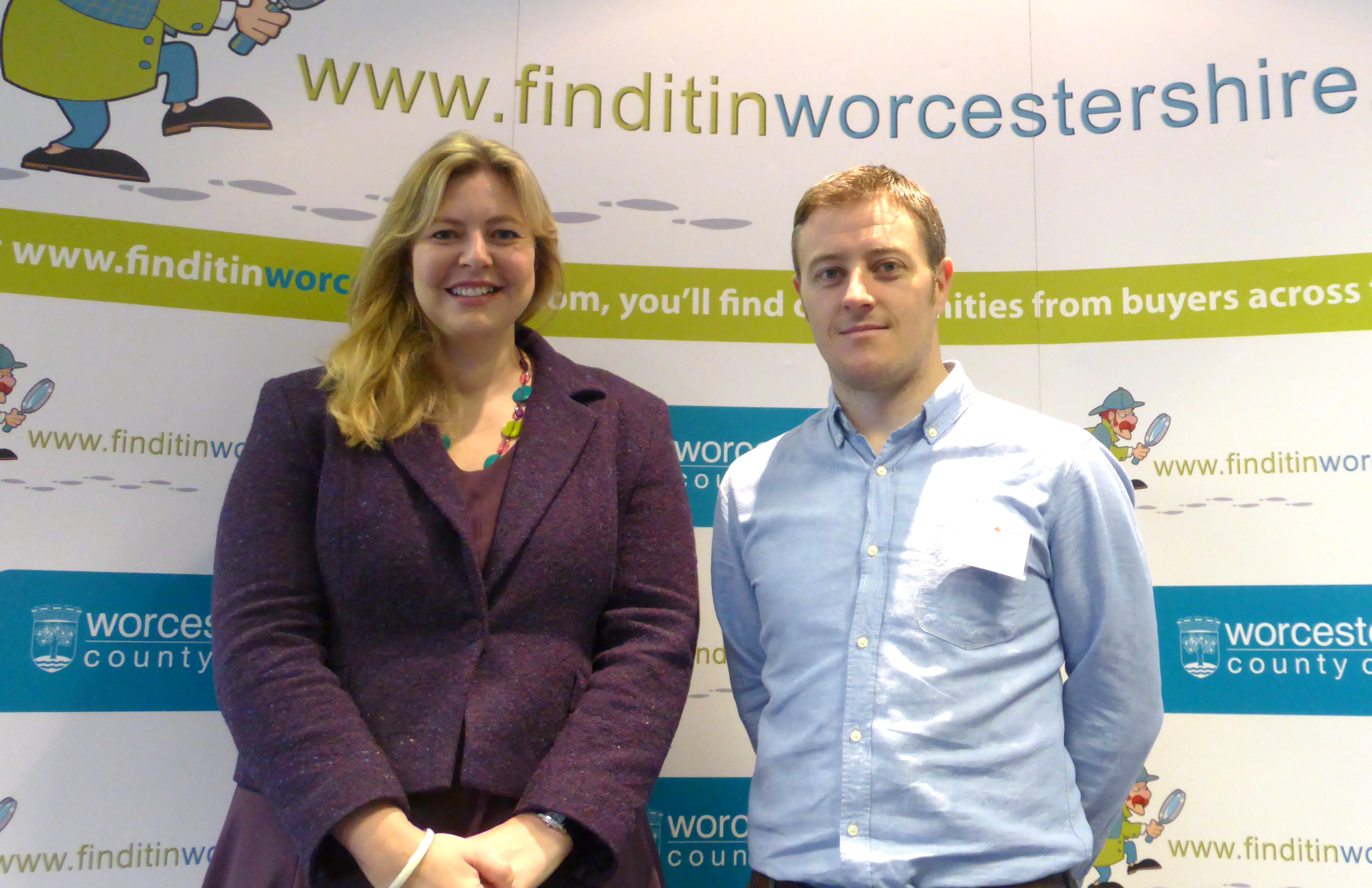 Kathryn Wagstaff, Finditinworcestershire Project Manager and Business Relationship Manager at Worcestershire County Council, with Ben Barnes, Ventutec