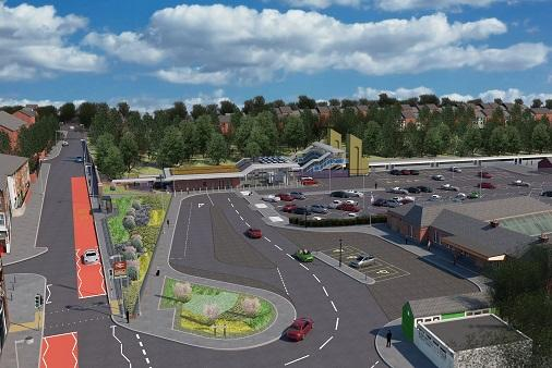 The new image shows the improved forecourt and Comberton Hill layouts and also shows how the new glazed, station building will look once completed.