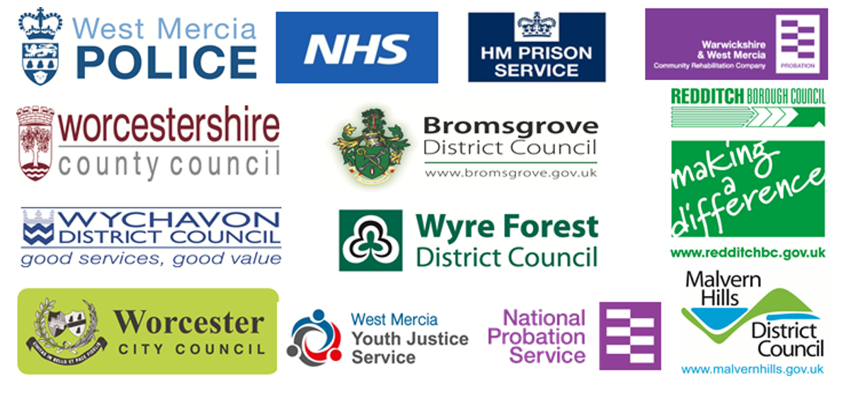 Logos of West Mercia Police, NHS, HM Prison service, Warwickshire and West Mercia Community rehabilitation company, Worcestershire County Council, Bromsgrove District Council, Redditch Borough Council, Wychavon district council, Wyre Forest District council, Worcester city council, west mercia youth justice service, national probation service and Malvern Hills District Council