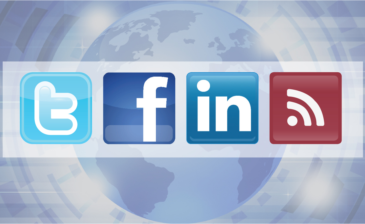 Image of RSS and Social Media icons to represent the News and Social Media section