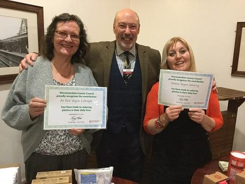 Plastic Pledge certificates were handed to Green's Vegan Cafe and As One Vegan Lifestyle, both based in Stourport at joint premises known as The Vegan Hub.