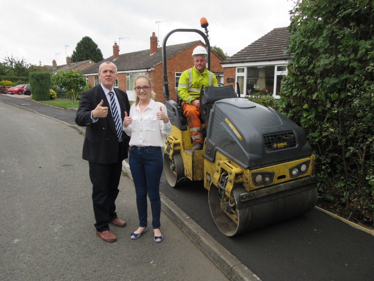 Cllr Phil Grove and Jessica Smith with a member of the highways team