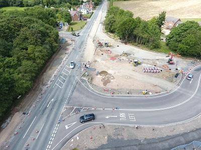 An aerial shot of Pinvin Junction as the works continue to progress.