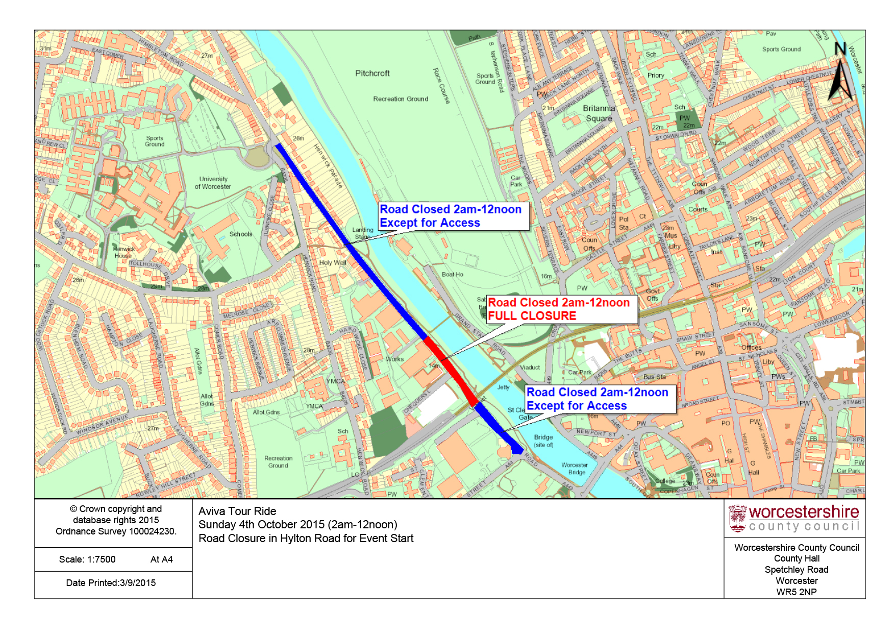 Map of closure and diversions