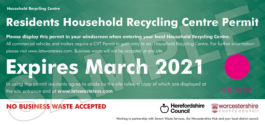 Example showing what your Residents Household Recycling Centre Permit will look like