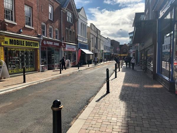 The Shambles in Worcester before resurfacing works started.
