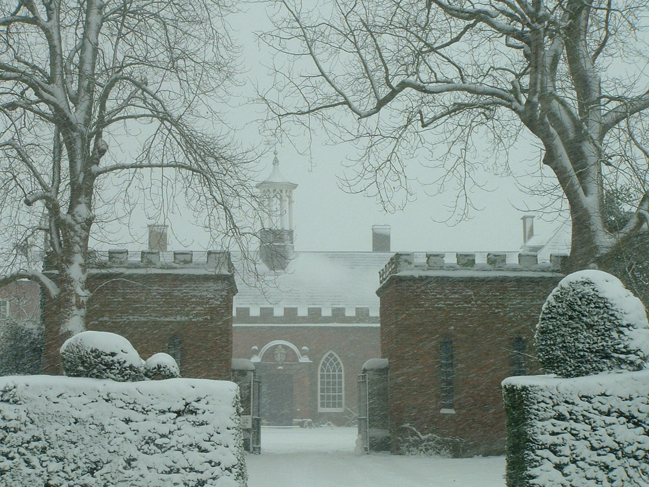 Hartlebury museum in the snow