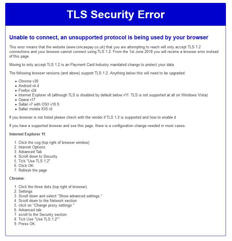 An image of the TLS Security error page