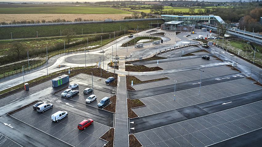 Aerial shot of Parkway station showing the car park taken February 2020
