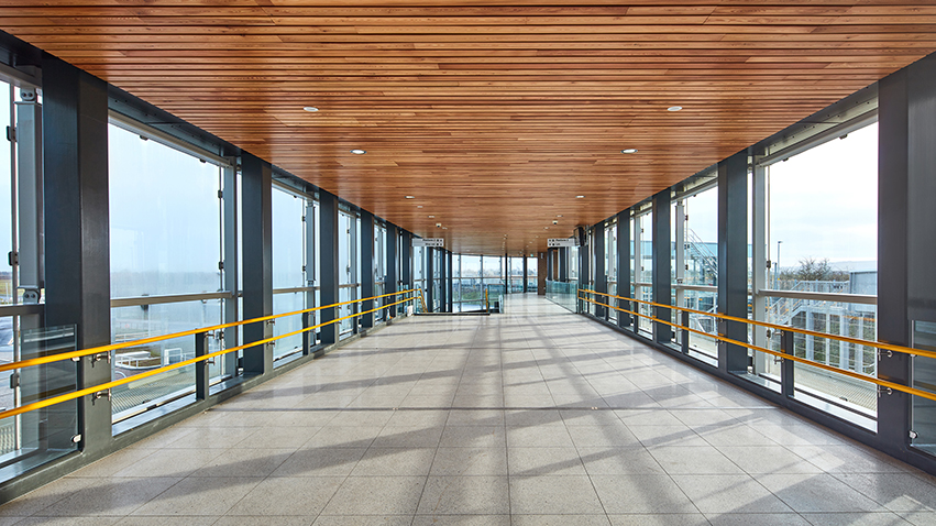 Internal image of Parkway station showing a walkway