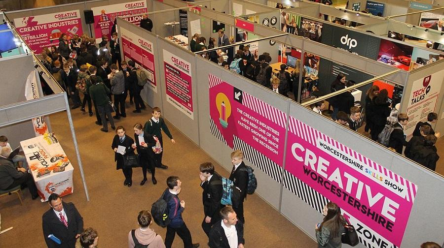 Overhead photo of people visiting the skills show 2020.