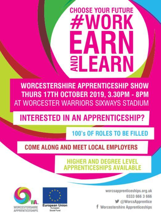 Flyer outlining the possibilities available to young people at the Apprenticeship Show.