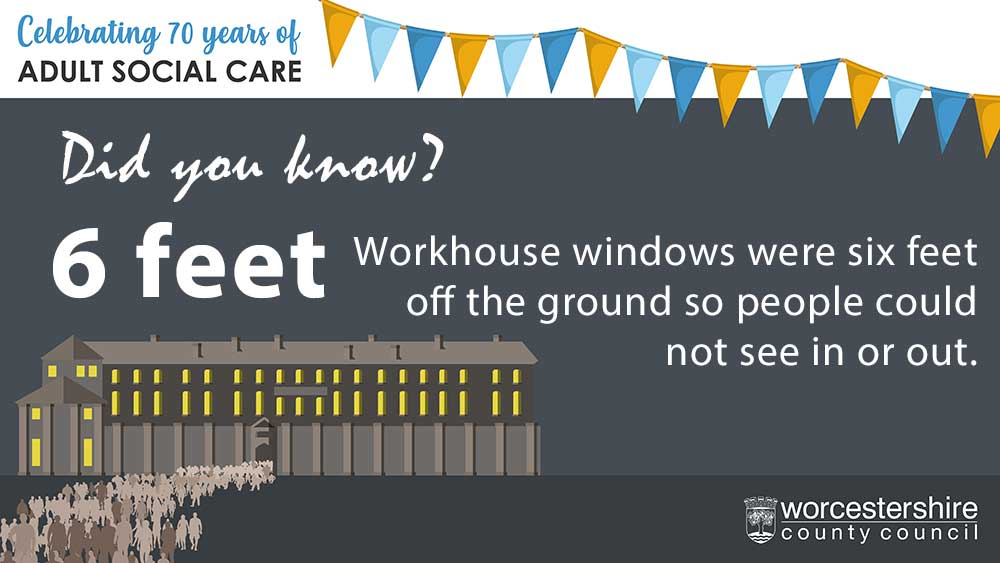 Workhouse windows were 6 feet off the ground so people could not see in or out