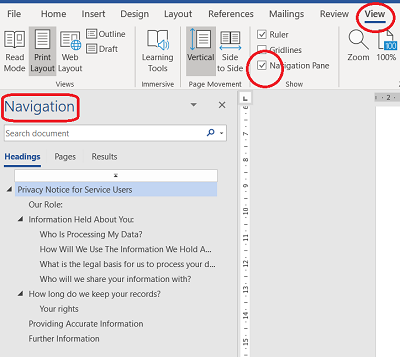 Navigation pane in Word