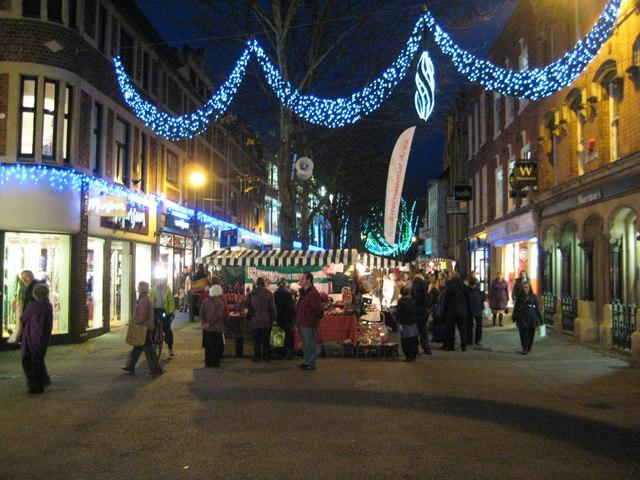 Worcester High Street decorated with Christmas Lights