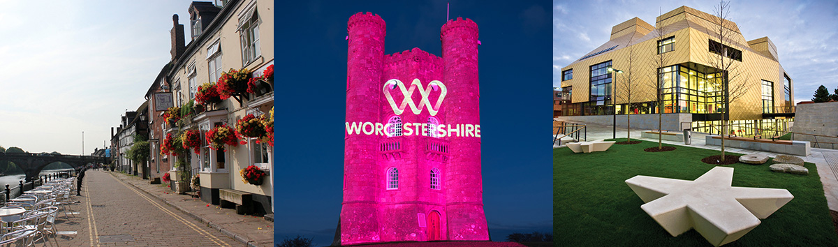 Images of Worcestershire showing The Hive, The River Severn and Broadway Tower lit up on the One Worcestershire logo